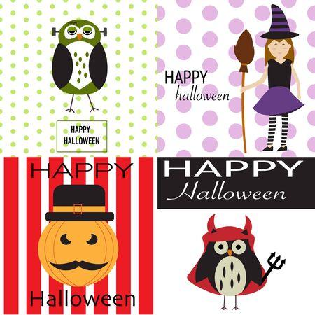 Fondo del feliz Halloween con calabazas de miedo, búho espeluznante, diablo búho y el vector de brujas. ilustración EPS10. Foto de archivo - 44652389