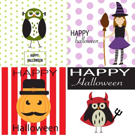 Happy Halloween background with scary pumpkins,spooky owl,devil owl and the witch vector. illustration EPS10. Illustration