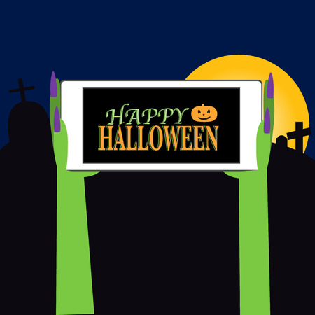 spook: Happy Halloween background with smartphone and zombie hand vector. illustration EPS10.