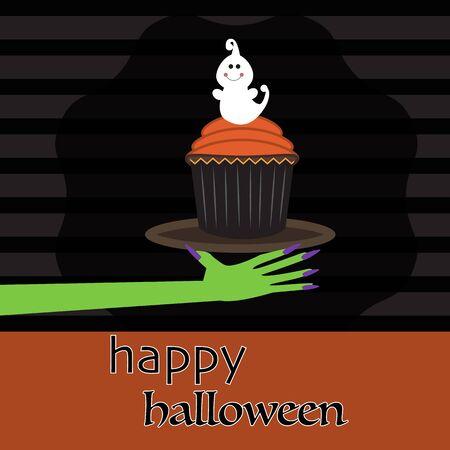 Fondo del feliz Halloween con espeluznante vector torta de la taza. ilustración EPS10. Foto de archivo - 45001124