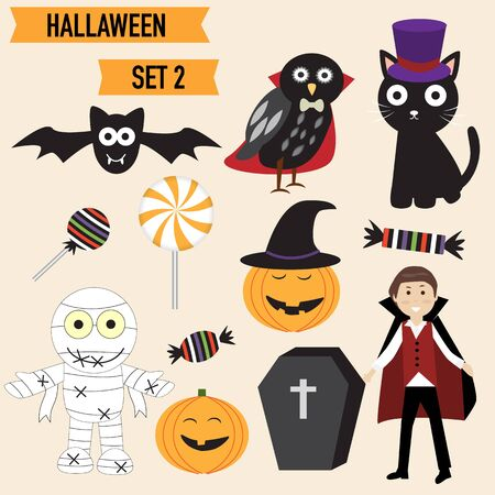 Happy Halloween background with cute little vampire  vector. illustration EPS10. Illustration