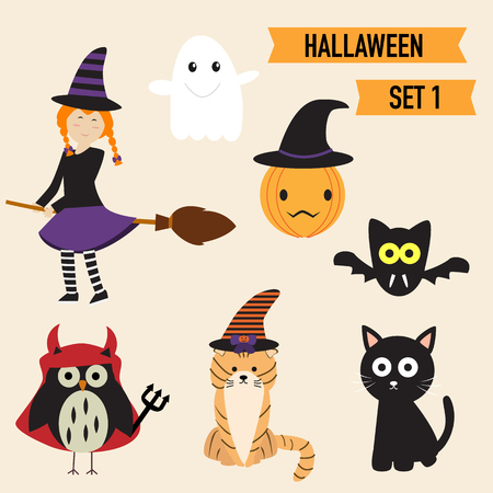 shocking: Happy Halloween background with cute little witch  vector. illustration EPS10.