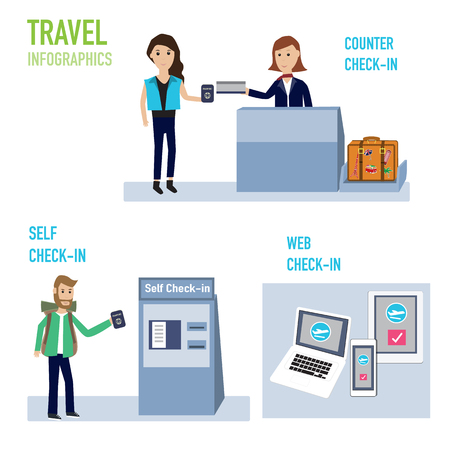 passengers  check-in at the airport with counter,self and web  vector. illustration EPS10. Illusztráció