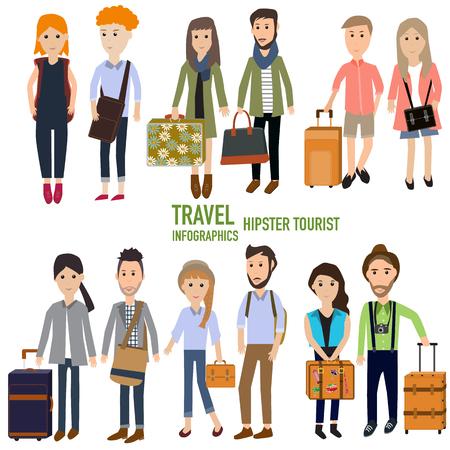 tourist tourists: Travel infographics.Hipster Tourist  vector. illustration EPS10. Illustration