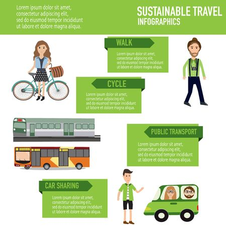 global retirement: sustainable travel with walk,cycle,public transport,car sharing vector. illustration EPS10.