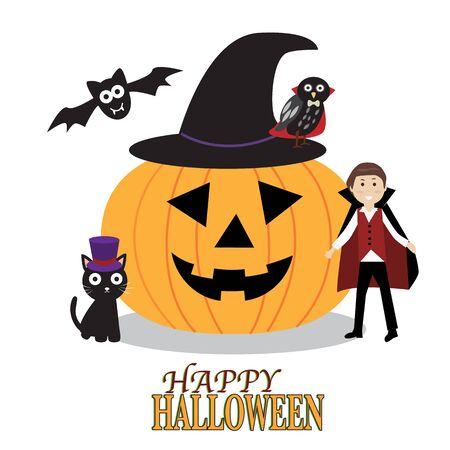 Fondo del feliz Halloween con calabazas de miedo, búho fantasmagórico, búho demonio y la bruja Foto de archivo - 46427481