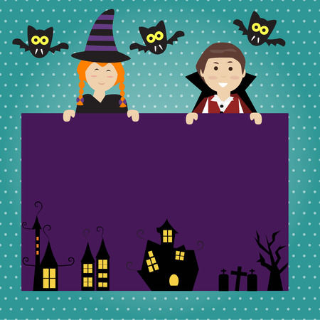 Fondo del feliz Halloween con el pequeño vampiro y bruja linda Foto de archivo - 46427483