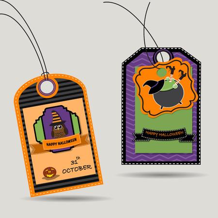 Etiqueta feliz Halloween con búhos y la bruja Foto de archivo - 46427484
