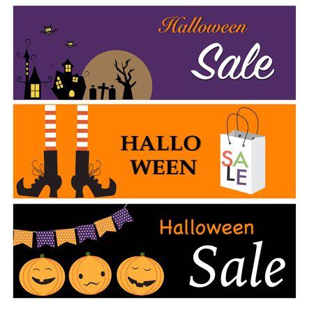 Felices banners de venta de Halloween con la ciudad de la noche, las piernas de brujas, calabazas linterna vector Foto de archivo - 46427485