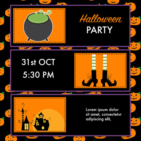 Halloween party invitation cards witchvampire character vector halloween party invitation cards witch character vector stopboris Gallery