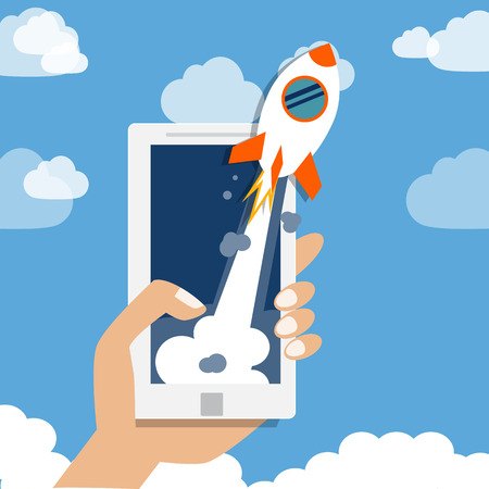 start up business.  company with mobile or smartphone launch the rocket   illustration Vectores