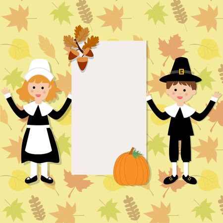 thanks giving: Happy Thanks giving with pilgrim costume children vector.   Illustration