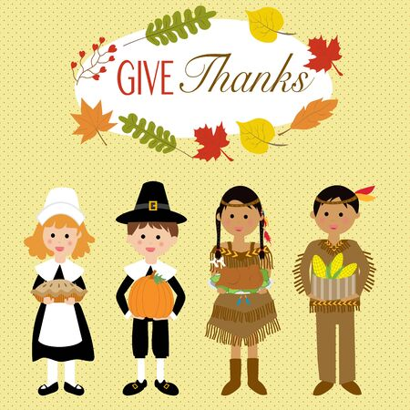 Happy Thanks giving with pilgrim  and red indian costume children vector.