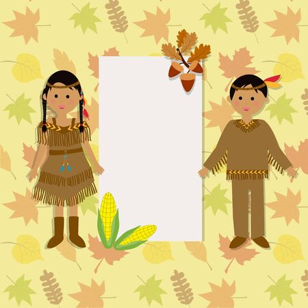 red indian: Happy Thanks giving with red indian costume children vector.