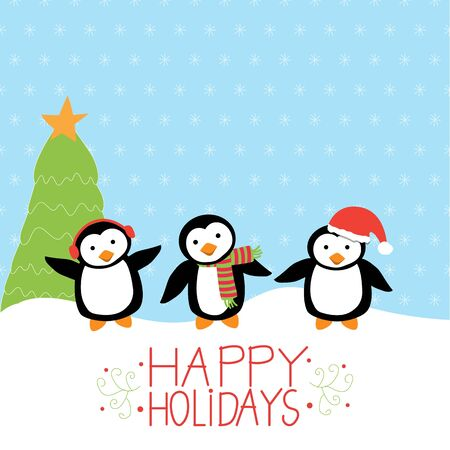 pinguinos navidenos: Feliz navidad Pingüinos del vector. Vectores