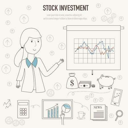 stock market return: Stock investment  concept with doodles icons vector illustration