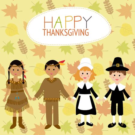 red indian: Happy Thanks giving with pilgrim  and red indian costume children vector. illustration