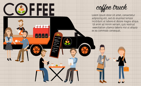 glad: People meeting in the coffee food truck infographics elements.  Illustration