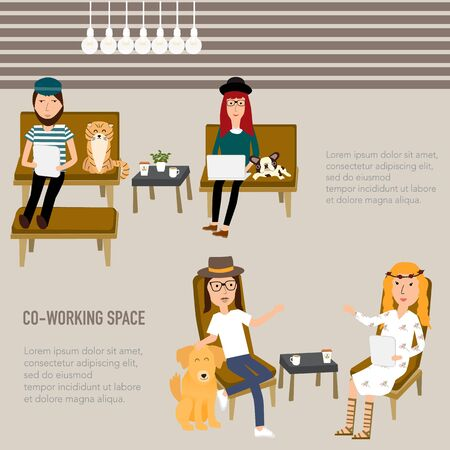 co operative: Hipster people working in the co-working space infographics elements.  Illustration