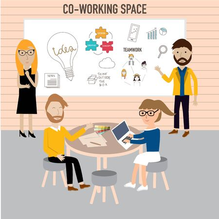 Hipster people working in the co-working space infographics elements.  Illustration