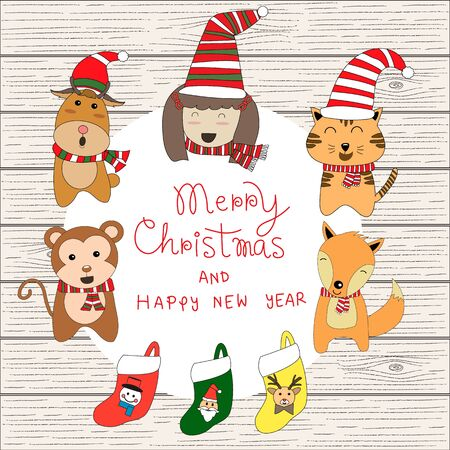 girl singing: little cute small animal reindeer,monkey,fox,cat and kids, girl singing song  in Christmas Costume vector illustration .