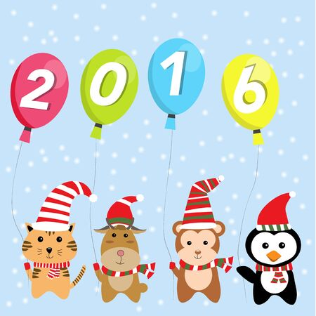 ittle: ittle cute small animal  for happy new year 2016