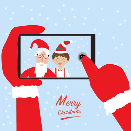 st claus: Hipster santa claus and little boy selfie with smartphone for merry christmas