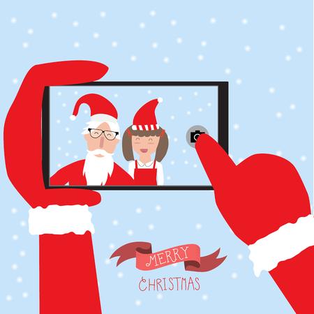 Hipster santa claus y poco selfie chica con el teléfono inteligente de feliz navidad