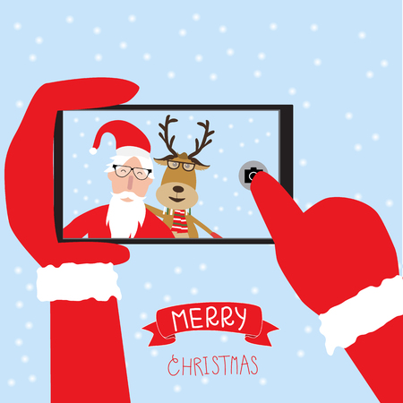 telephone cartoon: Hipster santa claus and reindeer selfie with smartphone for merry christmas