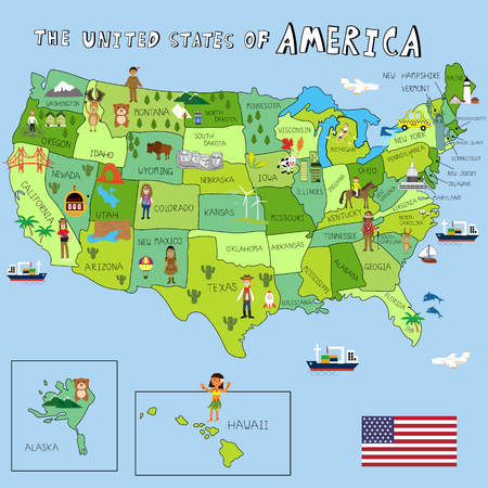federal states: USA Pictures with federal states map vector
