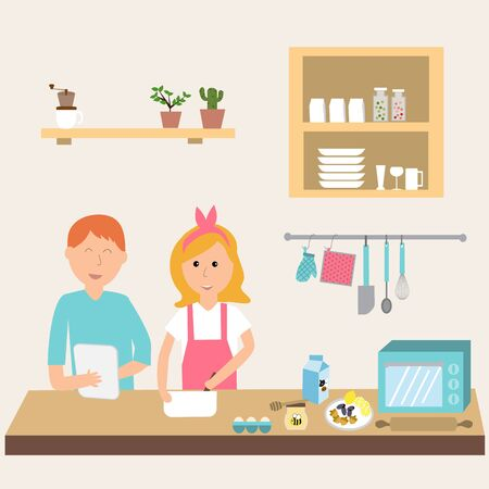 complicity: Couple in the kitchen using electronic tablet for cooking.illustration EPS10.