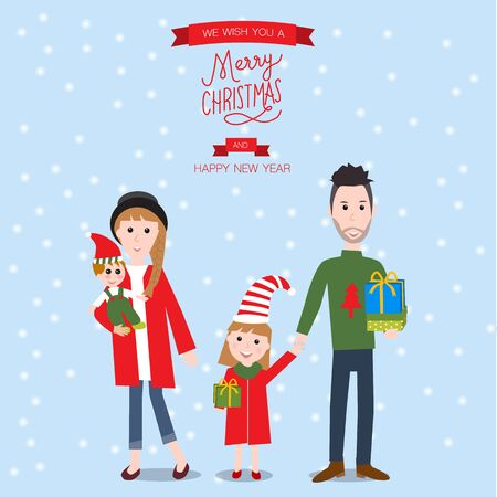 xmas card: Happy family for merry christmas vector. illustration EPS10. Illustration