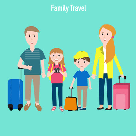 Family travel with kids vector. illustration EPS10