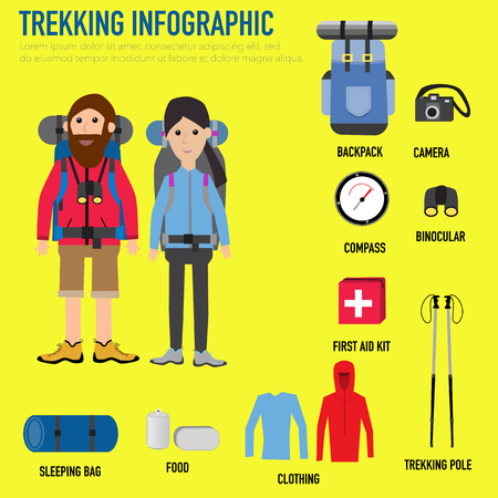 couple sleeping: Trekking couple infographic with backpack,camera,compass,sleeping bag,first aid kit,trekking pole,binocular,cloths,food vector. illustration EPS10