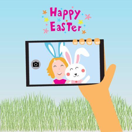 Enfants de Pâques Happy selfie avec rabit sur téléphone intelligent illustration vectorielle Banque d'images - 52064379