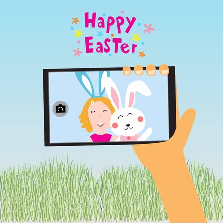 Happy easter kids selfie with rabit on smart phone  vector illustration Illustration