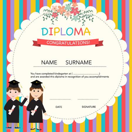 diploma: Certificado de diploma de niños, preescolar, guardería fondo de la plantilla