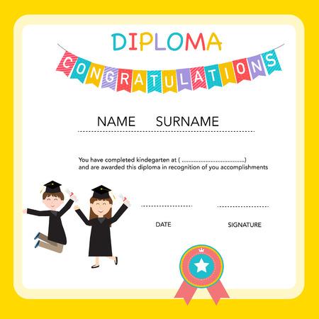 preescolar: Certificado de diploma de niños, preescolar, guardería fondo de la plantilla