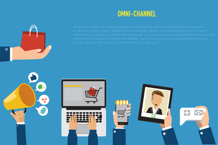 customers: OMNI-Channel concept for digital marketing and online shopping.