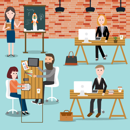 People working in the co-working space infographics elements.