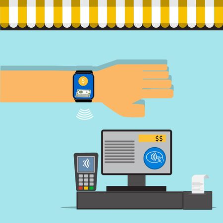 nfc: Mobile payment concept on smartwatch with NFC technology