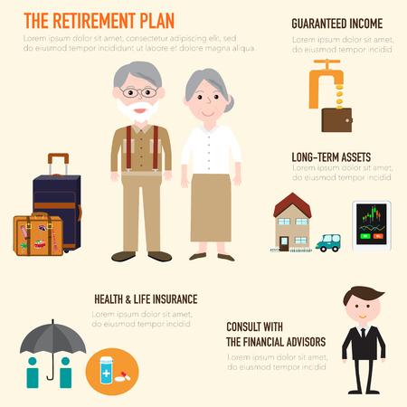 I vecchi paio di persone a piano di pensionamento infografica elementi. Archivio Fotografico - 55670733