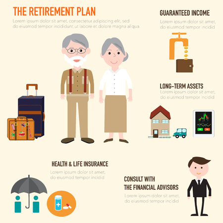 Old couple people in retirement plan infographics elements.