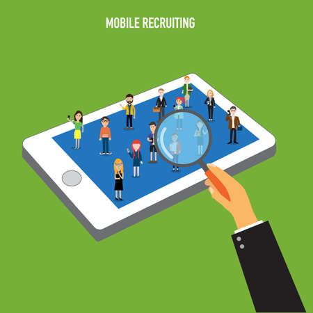 recruiting: Human Resource mobile recruiting Illustration