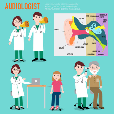 Audiologist , audiology , anatomy of ear vector infographic illustration.