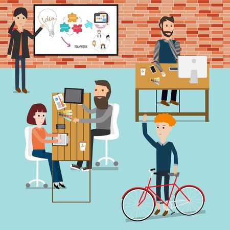 People working in the co-working  space Illustration