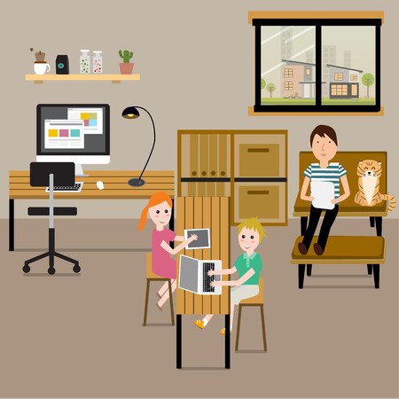 freelancer: People working at home with family as a freelancer or remote work. Illustration