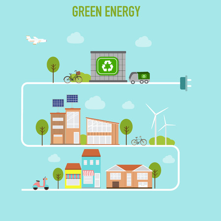 Smart  modern cities ecology design  concept infographics elements. City with green energy.
