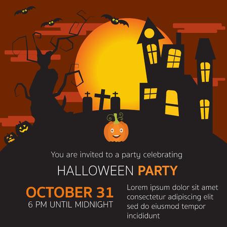 De Halloween horror invitación del partido, yarda grave, calabazas, viejo árbol grande miedo y gran luna en el cielo de terciopelo rojo vector. ilustración Foto de archivo - 59953716