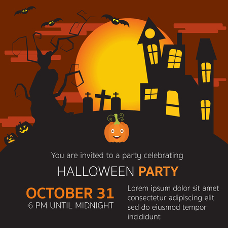 horror house: Halloween party invitation horror  house,grave yard,pumpkins,old big scary tree and big moon in the red velvet sky vector. illustration